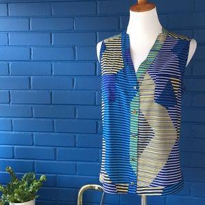 Calvin Klein blue yellow stripe sleeveless blouse
